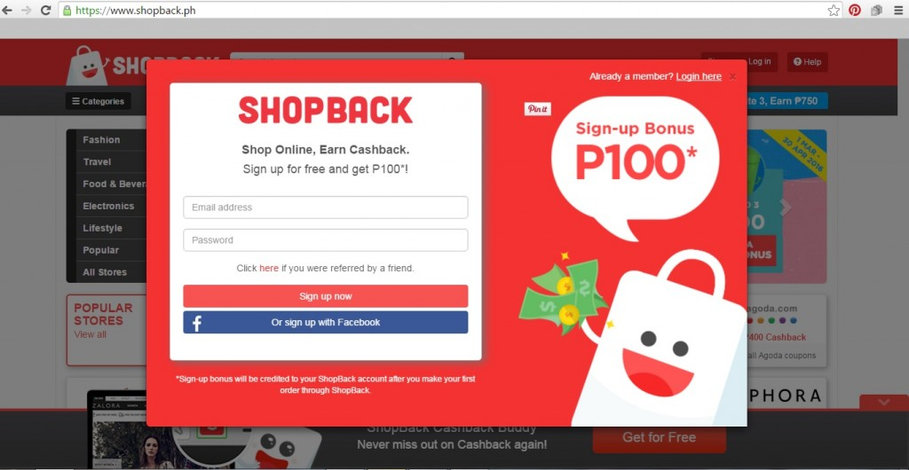 ShopBack Log-in